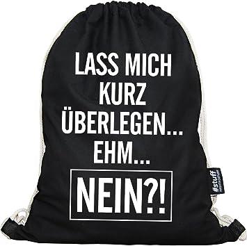 HASHTAGSTUFF® Turnbeutel Mit Spruch / Verschiedene Sprüche U0026 Designs  Auswählbar / Beutel: Schwarz /