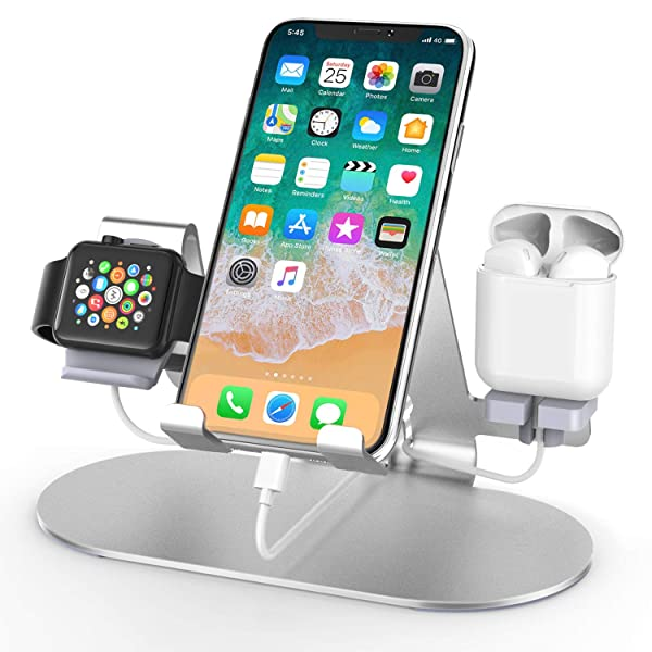 3 in 1 Aluminum Charging Station for Apple Watch Charger Stand Dock for iWatch Series 4/3/2/1,iPad,AirPods and iPhone Xs/X Max/XR/X/8/8Plus/7/7 Plus /6S /6S Plus/ (Color: silver)