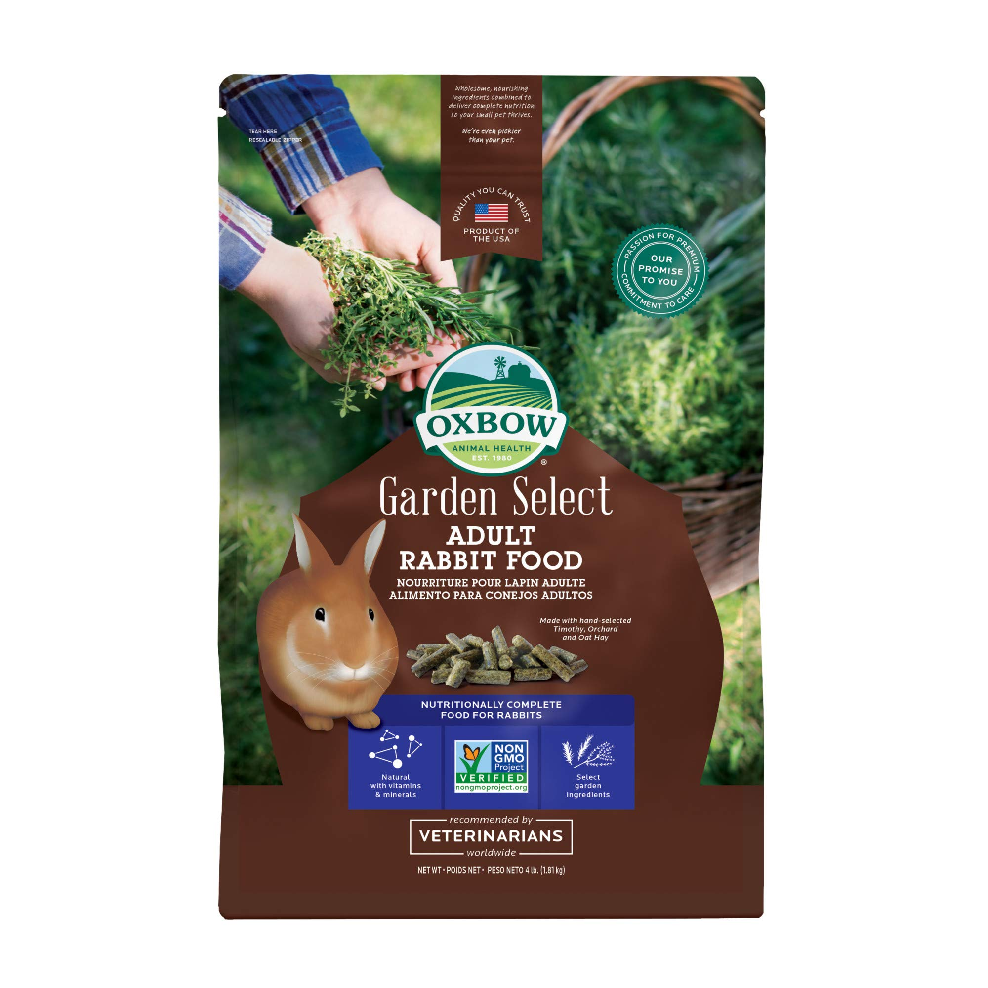 Oxbow Animal Health Garden Select Adult Rabbit Food, Garden-Inspired Recipe for Adult Rabbits, No Soy or Wheat, Non-GMO, Made in The USA, 4 Pound Bag