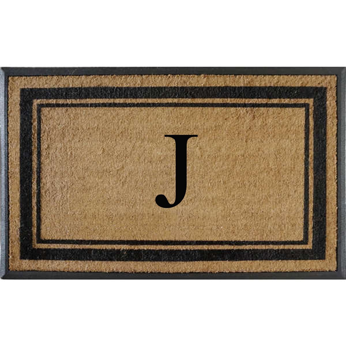 First Impressions Markham Border Double Door, Doormat, Monogrammed J, X-Large by A1 Home Collections