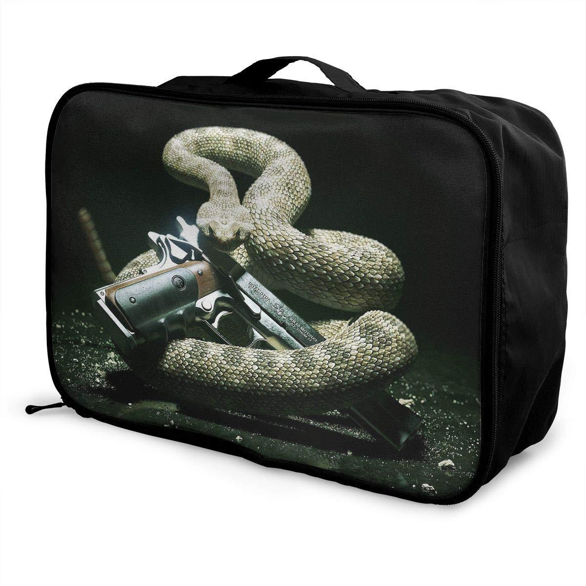 Travel Luggage Duffle Bag Lightweight Portable Handbag Snake Print Large Capacity Waterproof Foldable Storage Tote