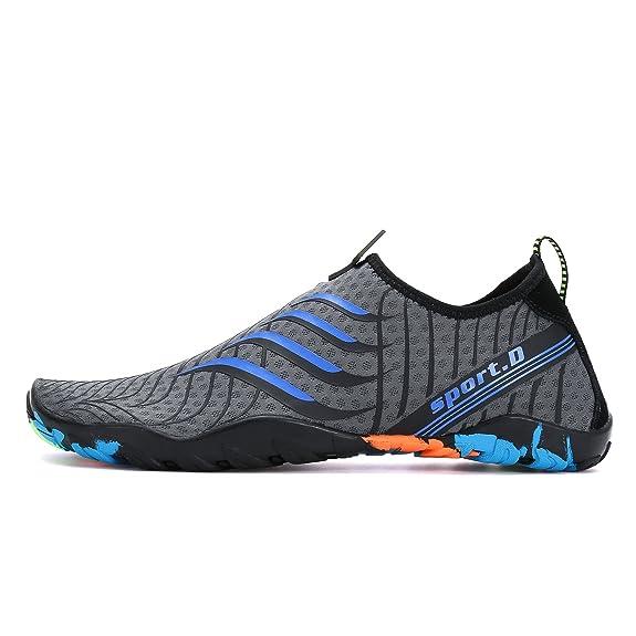 Voovix Calcetines de Agua Transpirable Aqua Unisex Zapatos de Agua Descalza de Secado Rápido Zapatillas Livianas Para Nadar Yoga Surf Beach Shoes Hombres: ...