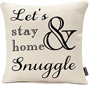 oFloral Lets Stay Home and Snuggle Throw Pillow Case Cotton Linen Throw Pillow Cover 18 x 18 Inch Quotes