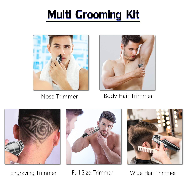 HATTEKER Beard Trimmer Kit For Men Cordless Mustache Trimmer Hair Trimmer Groomer Kit Precision Trimmer Nose Hair Trimmer Waterproof USB Rechargeable 5 In 1 by HATTEKER. (Image #4)