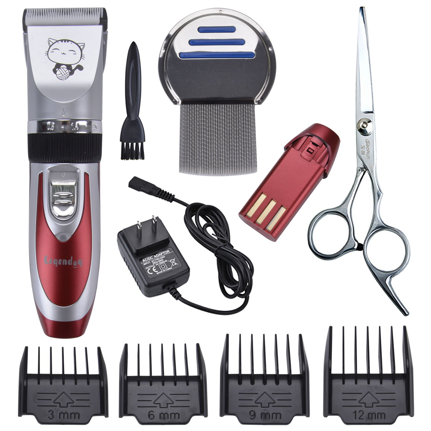 Red 33 teeth Pet Grooming Clippers,Legendog Cordless Rechargeable Electric Low Noise Grooming Clippers Kit for Cats (2 Batteries, Steel Comb and Scissors)
