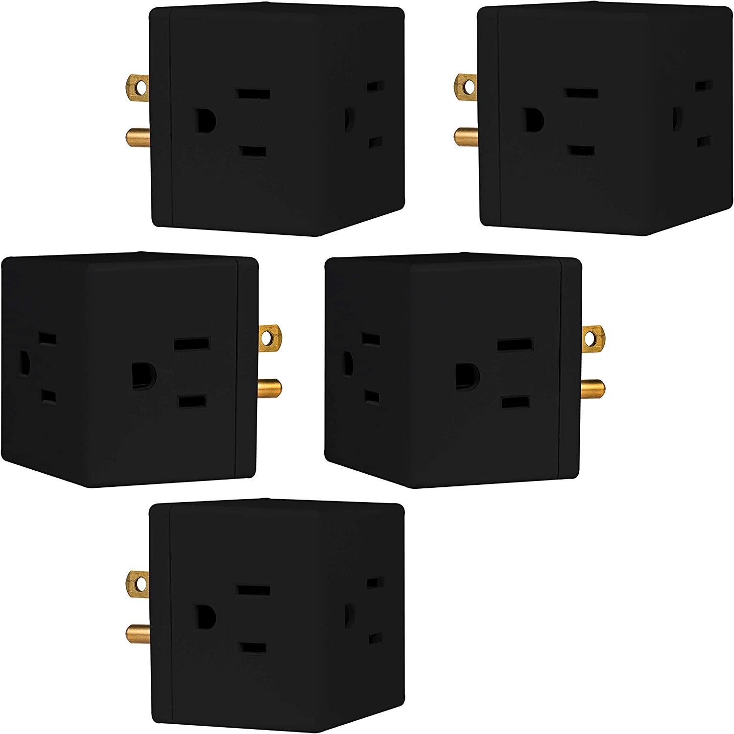 GE Outlet Wall Tap, 5 Pack, 3-Prong, Extra-Wide Adapter Spaced, Grounded, Easy Access Design, Indoor, Black, 47039