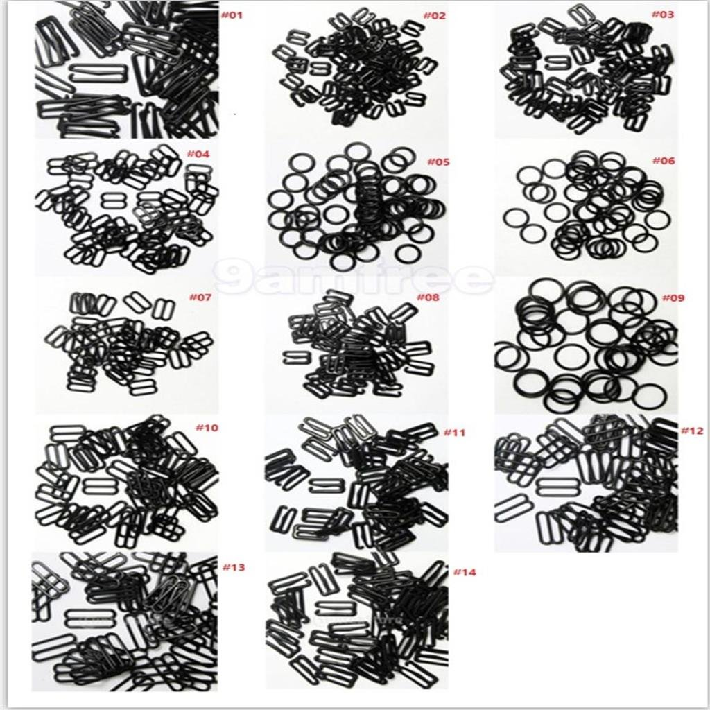 Computer accessories - 100/lot 8mm/10mm/15mm/20mm/25mm Adjuster Metal Black Lingerie Hardware Sewing Clip Hook Eye for Bikini Bra Strap Home Decoration by trang tri