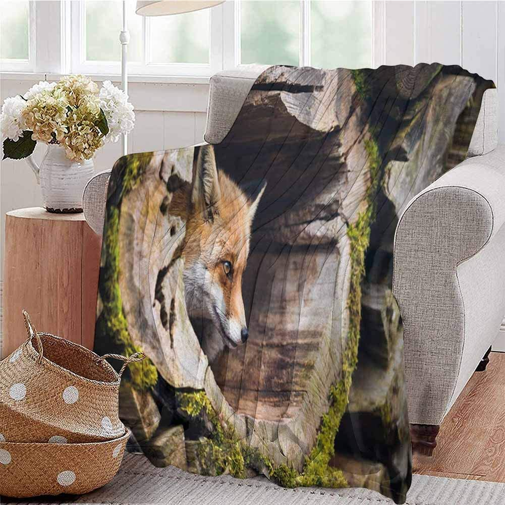 KFUTMD Warm Microfiber Blanket True Fox Vulpes Inside Wood Log Holes Exotic Furry Creature Wildlife Nature Animal Design Tan Bed Sleeping Travel Pets Reading W40 xL60