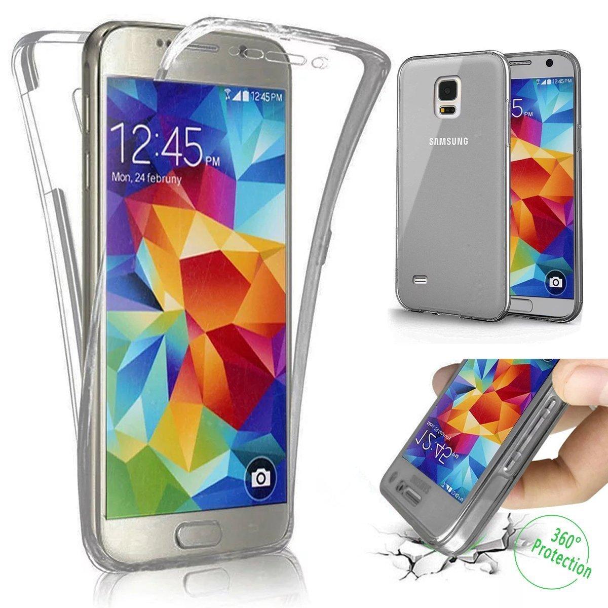 Funda Samsung Galaxy Note 3, YSIMEE Transparente Silicona 360° Full Body Fundas para Samsung Galaxy Note 3 Carcasa Protección Bumper Antigolpes Fina Flexibles Delanteros y Traseros para Samsung Galaxy Note 3-Azul