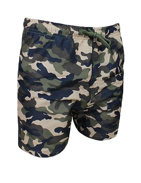 b82d4a764c5f Costume mare uomo mimetico militare verde pantaloncino boxer slim fit shorts  bermuda (M)