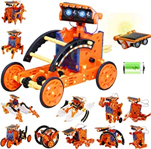 HahaGo Solar Robot Kit STEM Toys 12-in-1 Educational Toy DIY Science Experiment Kits Coding Robots Engineering 190 Pieces Set Powered by the Sun & Battery for Age 10+ Kids Children Gifts (Orange+Blue)