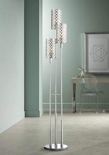 Modern Floor Lamp 3 Light Chrome Glitz Clear Crystal Bead Shade