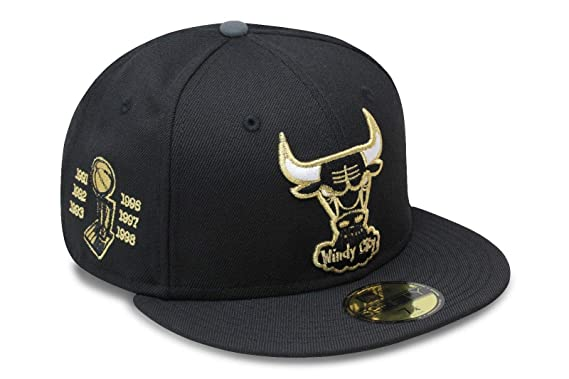 4ebf753f9b6 New Era Chicago Bulls Fitted Hat Cap Black Gold 6X NBA Championship Patch (