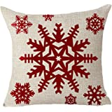 """Happy winter red snowflake Merry Christmas Throw Pillow Cover Cushion Case Cotton Linen Material Decorative 18 """"x18'' Square"""