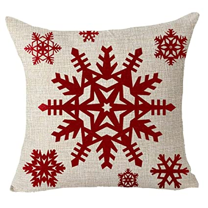 Amazon Happy Winter Red Snowflake Merry Christmas Throw Pillow Adorable Winter Throw Pillow Covers