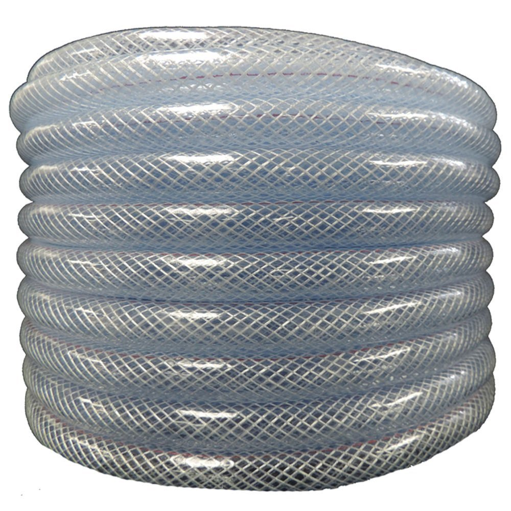 Maxx Flex 1531058100 Flexible Non Toxic Clear High Pressure, Reinforced, PVC Braided Vinyl Tubing, 5/8'' ID x 3/4'' OD x 50'