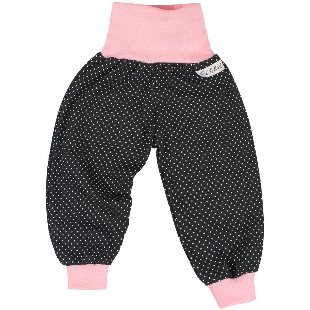 Made in Germany Lilakind Baby Kinder M/ädchen Pumphose Hose Babyhose Jersey Punkte Schwarz Rosa