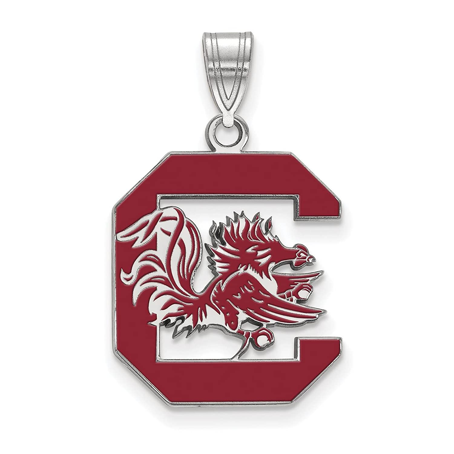 925 Sterling Silver Rhodium-plated Laser-cut University of South Carolina Large Enameled Pendant