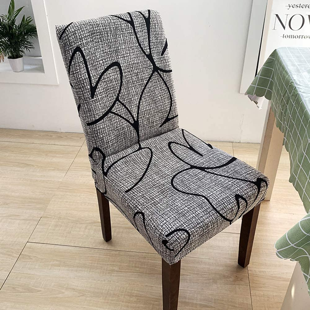 6 Chair Slipcovers, Stretchy Washable Covers, True Color, Great New Look to Dining Room 6 Sets . (Grey)