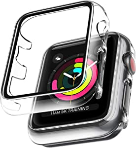 2 Pack LϟK Case for Apple Watch 38mm Series 3/2/1 Built-in Tempered Glass Screen Protector, All-Around Ultra-Thin Bumper Full Cover Hard PC Protective Case for iWatch 38MM - Clear