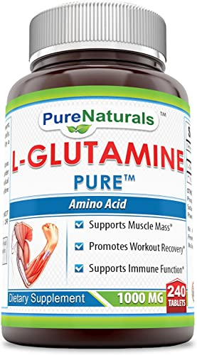 Pure Naturals L-Glutamine 1000 Mg 240 Tablets- Supports Muscle Mass* Promotes Workout Recovery* Supports Immune Function*