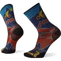 Smartwool Men's PhD Cycle Divide Trail Print Crew Ultra Light Merino Wool Socks, Tibetan Red, Large