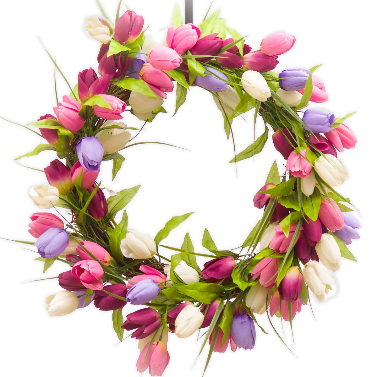 TULIP WREATH - PURPLE, PINK & BURGUNDY (SW952) - Spring Wreath - Summer Wreath - Silk Wreath