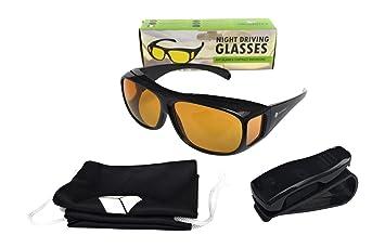 Gafas para Coche Hombre y Mujer de Visión Nocturna, Antideslumbrantes - Con Soporte de Clip - Lentes amarillos ...
