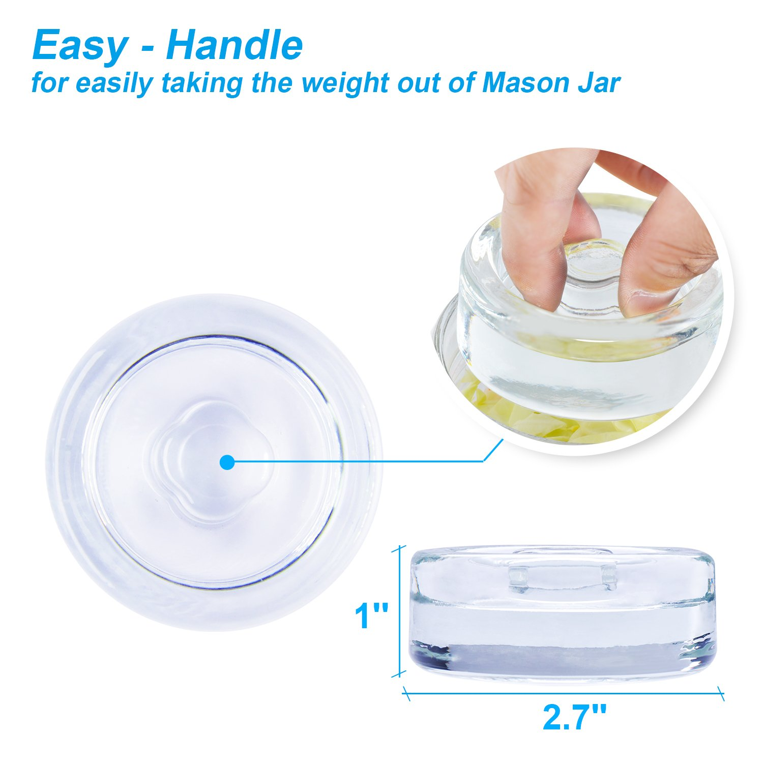 6-Pack Easy Fermentation Glass Weights with Handles for Keeping Vegetables Submerged During Fermenting and Pickling, Fits for Any Wide Mouth Mason Jars, FDA-Apporved Food Grade Materials by Siliware (Image #3)
