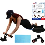 Abdominal Roller for Perfect Abs - Ab Exercise Equipment for Lower Ab Workout & Core Abs - Perfect Abdomen Machine with Knee Pad for Home - 3 Wheel with Braking Board