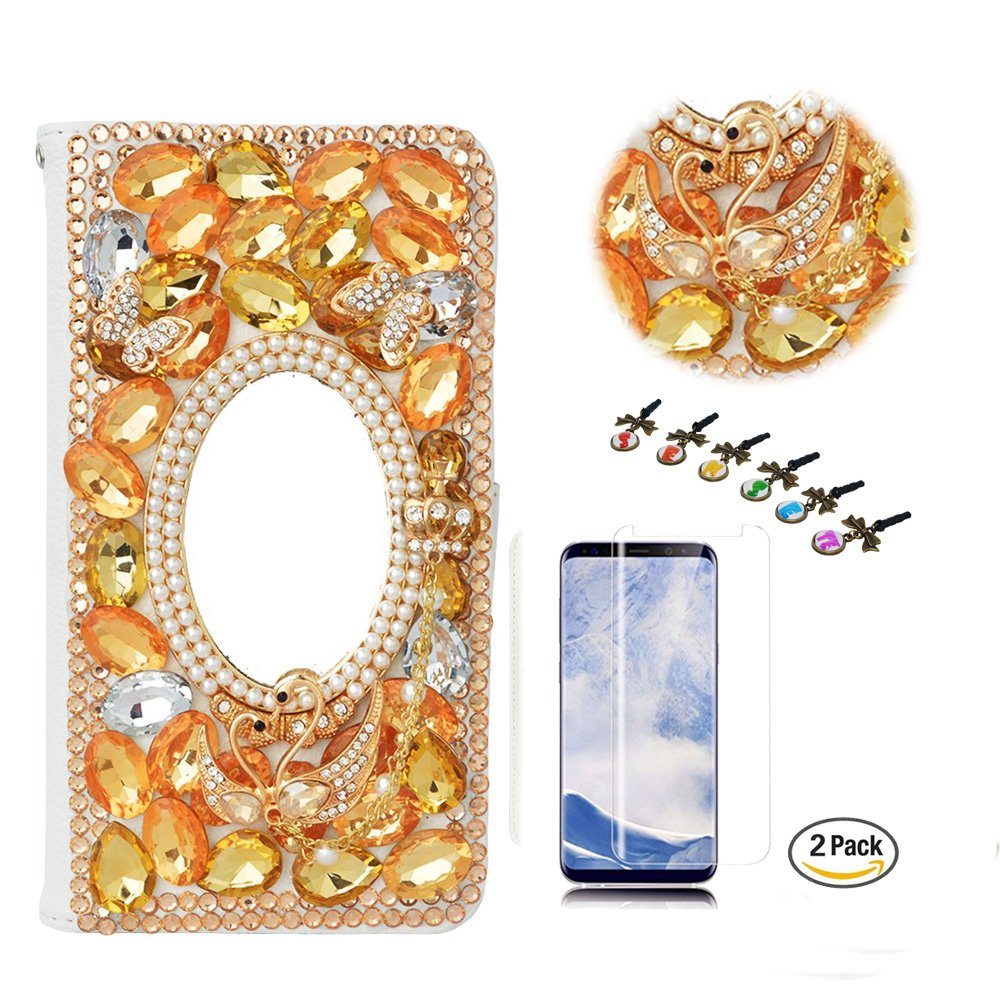STENES LG G7 ThinQ Case - Stylish - 3D Handmade Bling Crystal Swan Butterfly Mirror Design Wallet Credit Card Slots Fold Media Stand Leather Cover with Screen Protector for LG G7 ThinQ - Champagne