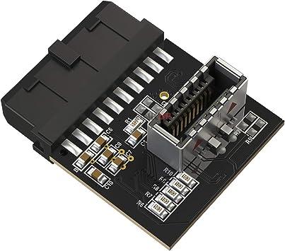 LINKUP - USB 3.0 Interno IDC Conector de Placa Base de 20 Pines a Interno 3.1 A-Key Adaptador Hembra de 20 Pines Tarjeta Convertidor Activa para Ranura Tipo C Panel Frontal: Amazon.es: Electrónica