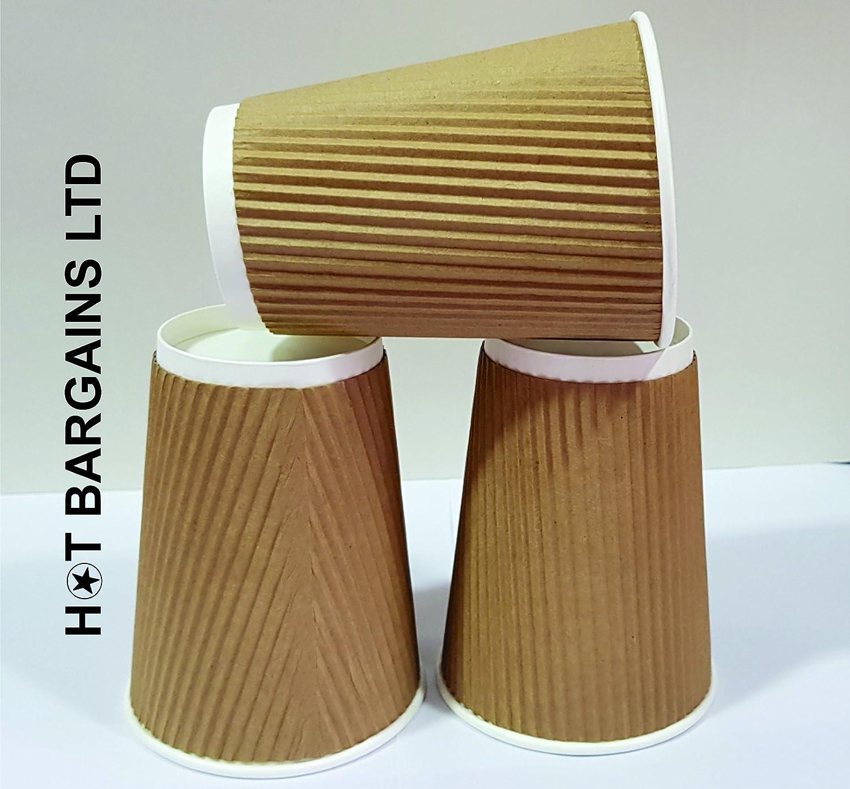 16OZ HOT BARGAINS 100 X Kraft triple walled disposable paper ripple cups 8oz 10oz 16oz LIDS FOR FREE 12oz