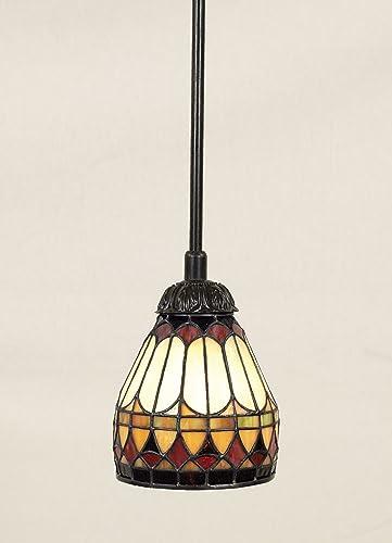 Quoizel TF1541VB Tiffany Cone Glass Mini Pendant Ceiling Lighting, 1-Light, 100 Watt, Vintage Bronze 9 H x 6 W