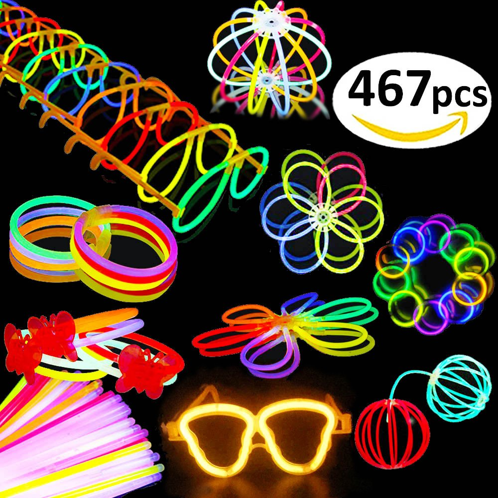 BUDI 200 Glow Sticks 467Pcs Glow Party Favors for Kids/Adults: 200 Glowsticks Party Packs 7 colors+ Connectors for Glow Necklace, Flower Balls, Luminous Glasses and Triple/Butterfly Bracelets by BUDI