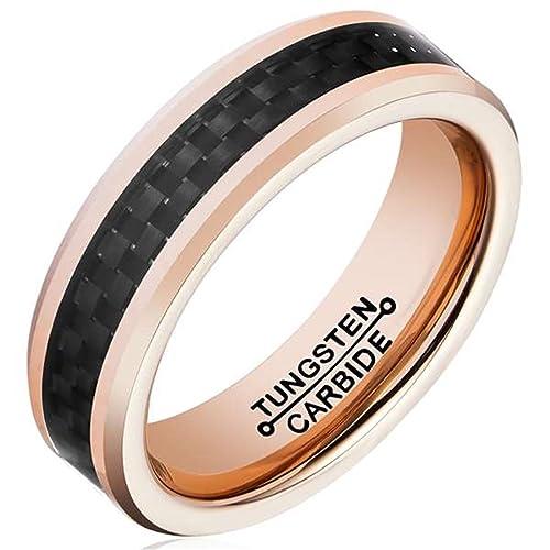 AMDXD Joyería Moderna Libre Grabado Anillos Para Hombre Fibra Oro Rosa Negro Anillos Boda Tamaño 15
