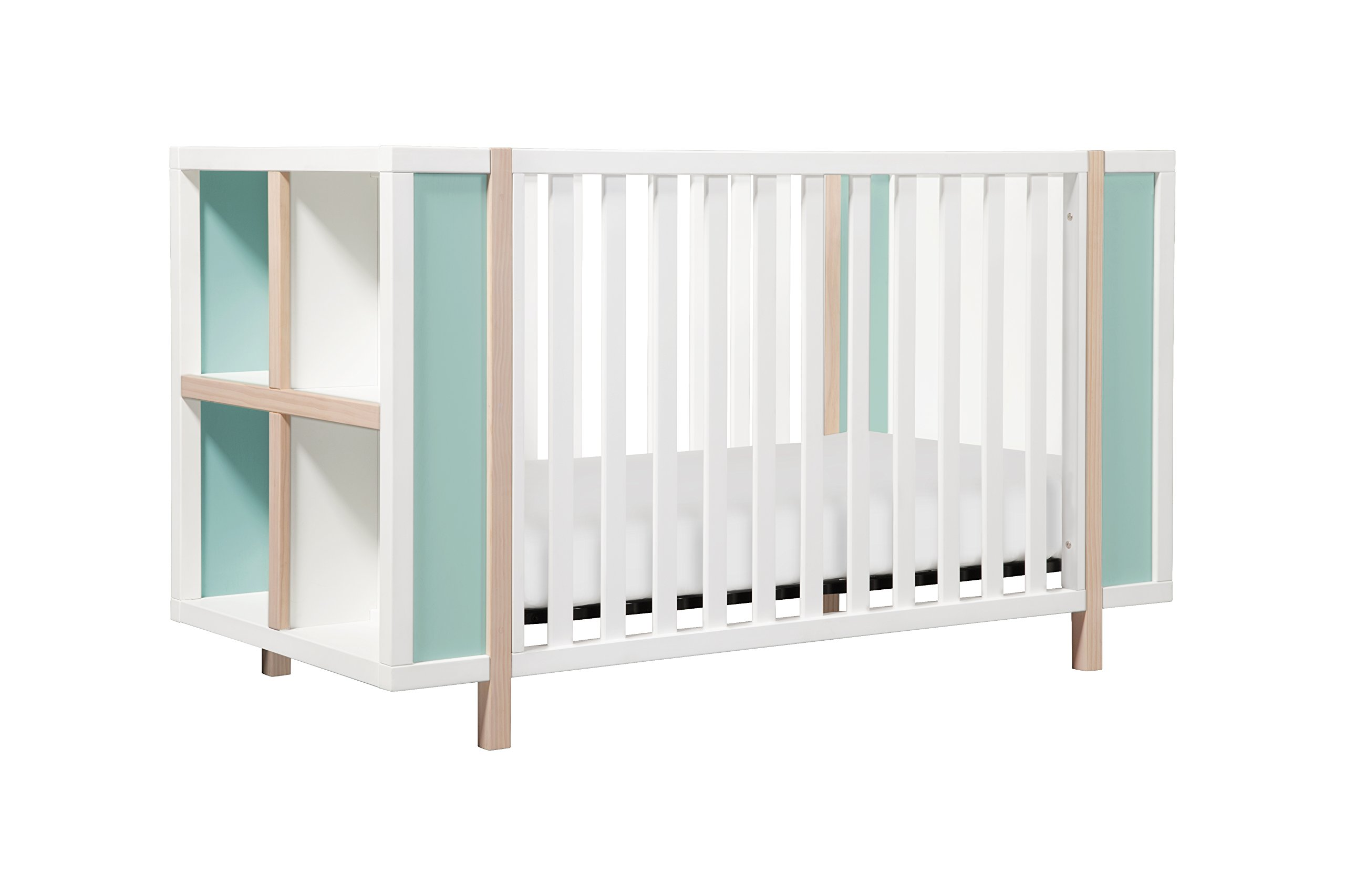 Babyletto Bingo 3-in-1 Convertible Crib and Storage Combo with Toddler Bed Conversion Kit, White / Washed Natural with Cool Mint by babyletto