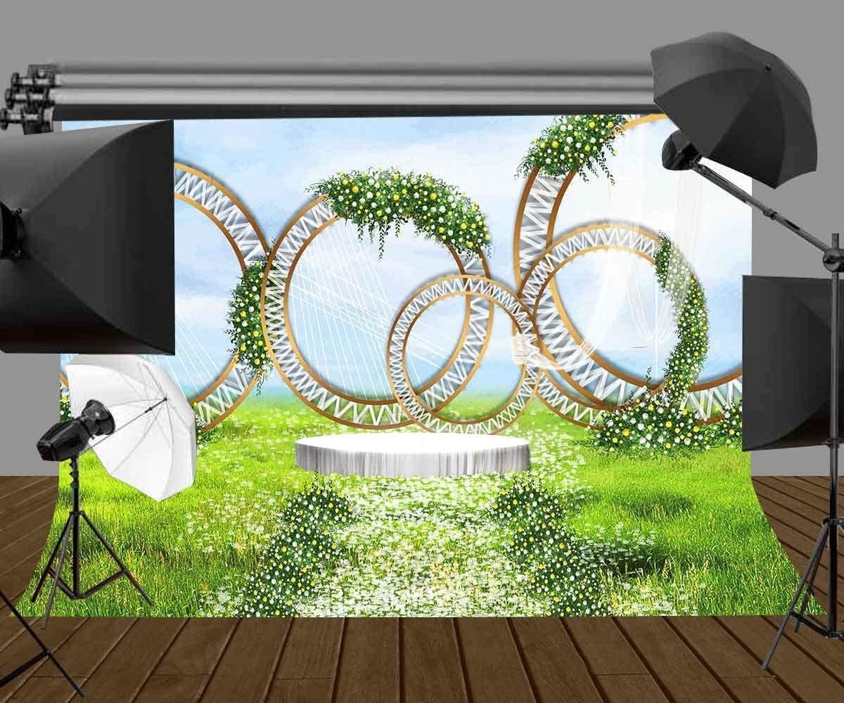 GoHeBe 7x5ft Green Grassland Backdrop Flowers Floral Photography Backdrop for Wedding Birthday Theme Party Background LYZY0217