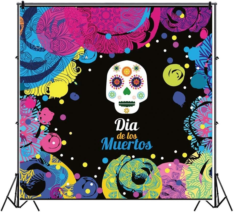 10x10ft Day of The Dead Backdrop Dia De Los Muertos Photography Background Mexican Skull Abstract Colorful Paintings Illustration Fiesta Banner Carnival Party Decor Child Baby Shoot