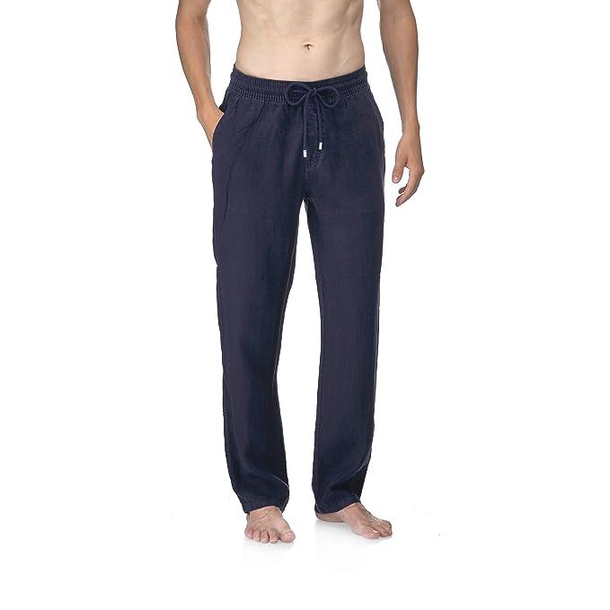 d6decd9cc VILEBREQUIN - Pantalón de Lino Liso para Hombre  Amazon.es  Ropa y ...