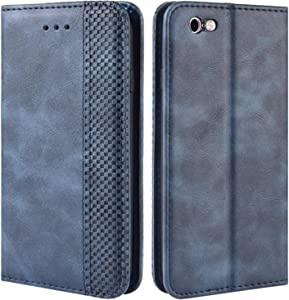 HualuBro iPhone 6s Plus Case, iPhone 6 Plus Case, Retro PU Leather Wallet Flip Folio Shockproof Phone Case Cover with Kickstand, Card Slots, Magnetic Closure for Apple iPhone 6 / 6S Plus (Blue)