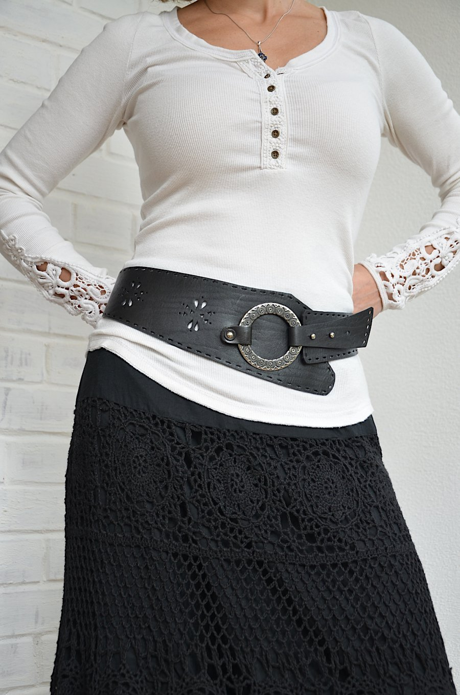 Asymmetrical black leather womens hip belt