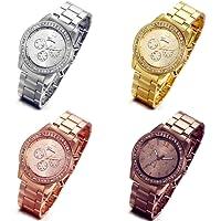Lancardo Rhinestone Gold-Tone Stainless Steel Quartz Unisex Wrist Watch