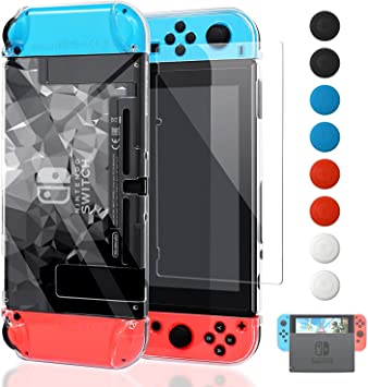 FYOUNG Funda Protectora para Nintendo Switch con Protector de Pantalla, [Encajar en el Muelle] Funda para Nintendo Switch Console y Switch Joy-con Controller, 3D Claro: Amazon.es: Electrónica