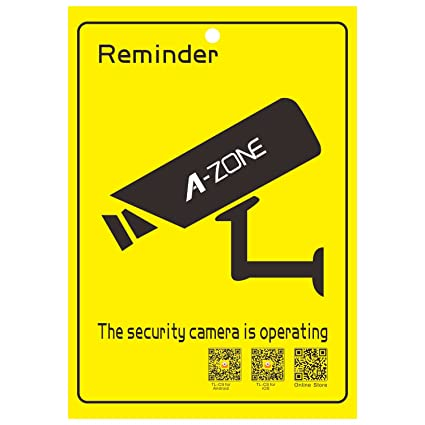 A-ZONE CCTV Security Camera Warning Stickers 2PCS Video Surveillance Decals for Indoor Outdoor Use