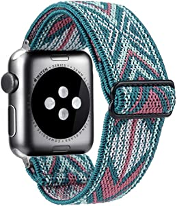 Elastic Watch Band Compatible With Apple Watch 38mm 40mm 42mm 44mm,Stretch Elastics Wristbelt Replacement Wristband For iWatch Series 6/5/4/3/2/1 (Green Arrow, 38MM/40MM)