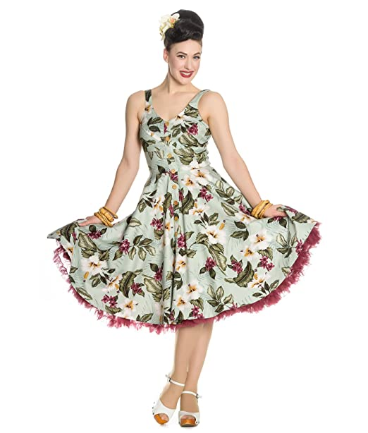 f17444a68550 Hell Bunny Tahiti 50s Tropical Floral Button Summer Dress: Amazon.co.uk:  Clothing