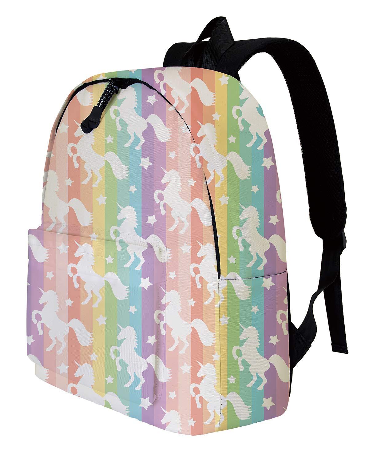Trendy Funky Back Pack Heavy Duty Padded Knapsack Bag Vivid Colorful Rainbow Unicorn Female Kid Teens Teenage Little Girls Adorable Kid Themed Daypack For Primary Elementary School Kindergarten
