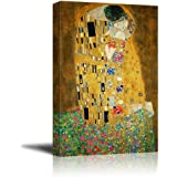 """Wall26 Canvas Print Wall Art - The Kiss by Gustav Klimt Giclee Printed Famous Painting on Stretched Gallery Wrap - 16"""" x 24"""""""