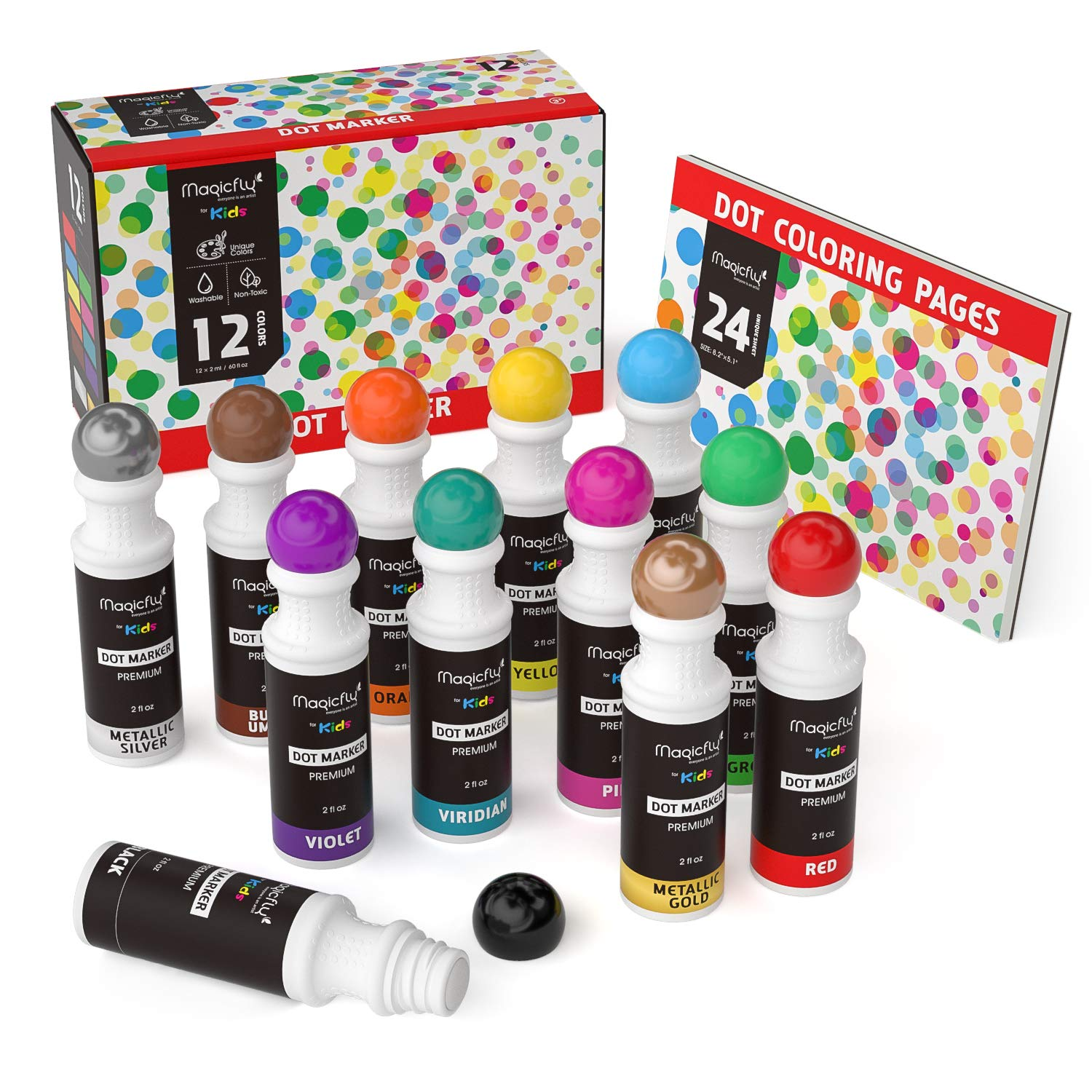 Washable Dot Markers, Magicfly 12 Colors Bingo Daubers with Free Dot Coloring Book for Kids, Non-Toxic Water-Based Dab Marker for Toddlers, Dauber Marker & Preschool by Magicfly